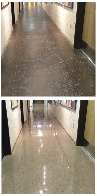 concrete polishing - before - after- Amarillo Tx